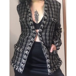 Tweed black and white blazer coat